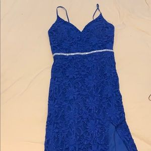 Blue mermaid style prom dress